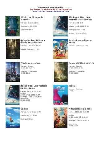 Cartelera Cinemancha del 15 al 21 de diciembre