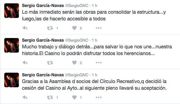 cesion casino al ayuntamiento twitter alcalde - El Casino pasará a ser del Ayuntamiento para salvarlo