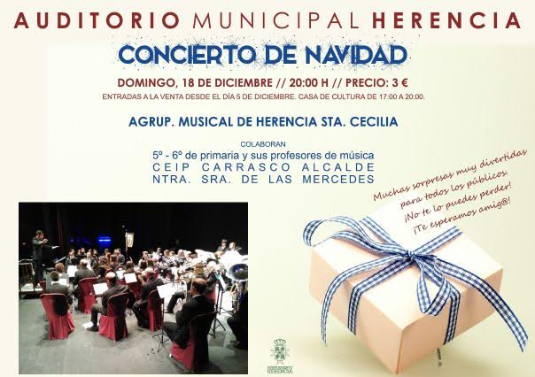 """Cartel del concierto de Navidad 2016 de la agrupación musical """"Santa Cecilia"""""""