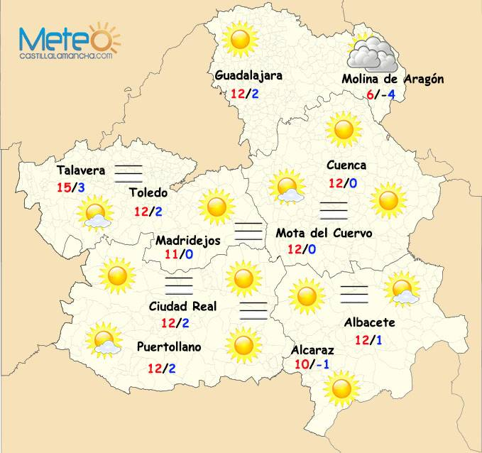 El tiempo en Navidad en Castilla-La Mancha. Imagen de meteocastillalamancha.com