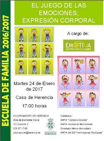 Cartel Escuela de familia el juego de las emociones - La Escuela de Familia de Herencia aborda el tema del juego de las emociones