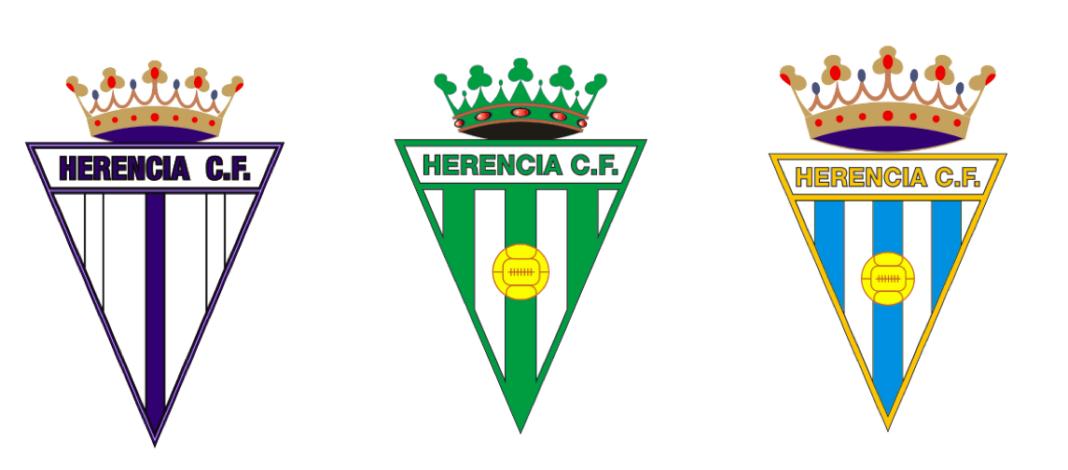 Vairantes del escudo del Herencia CF a lo largo de la historia 1068x470 - El Herencia C. F. (IV)