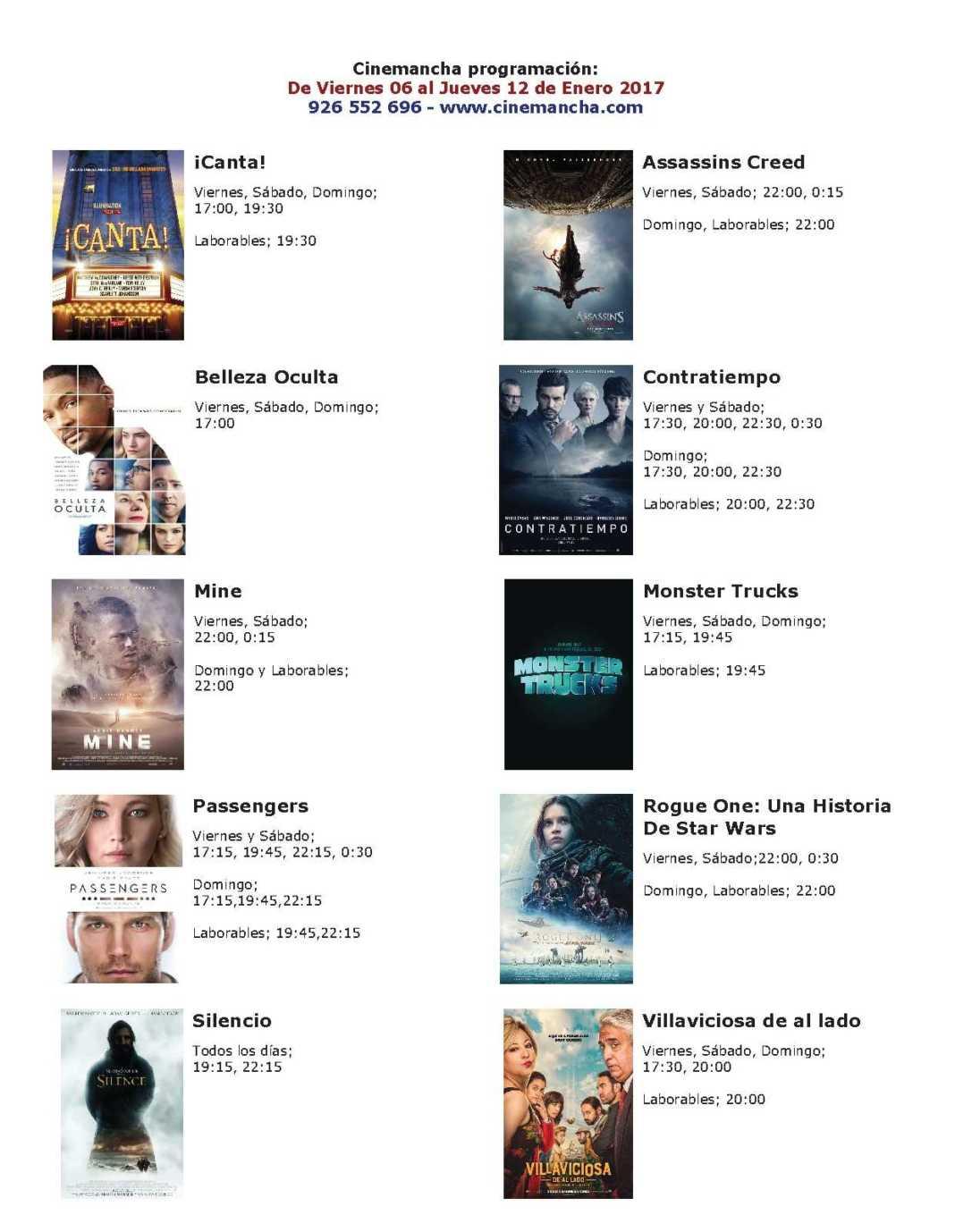 Cartelera Cinemancha del viernes 06 al jueves 12 de enero 1