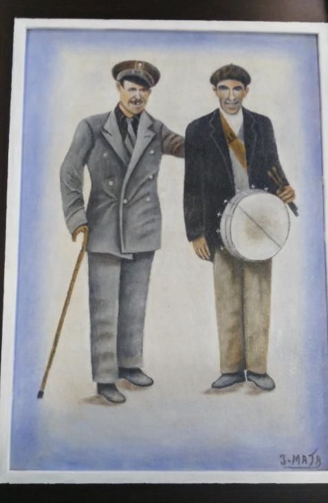 cuadro jesus mata con carcelero y pregonero - Jesús Mata dona a Herencia un cuadro con dos antiguos oficios municipales