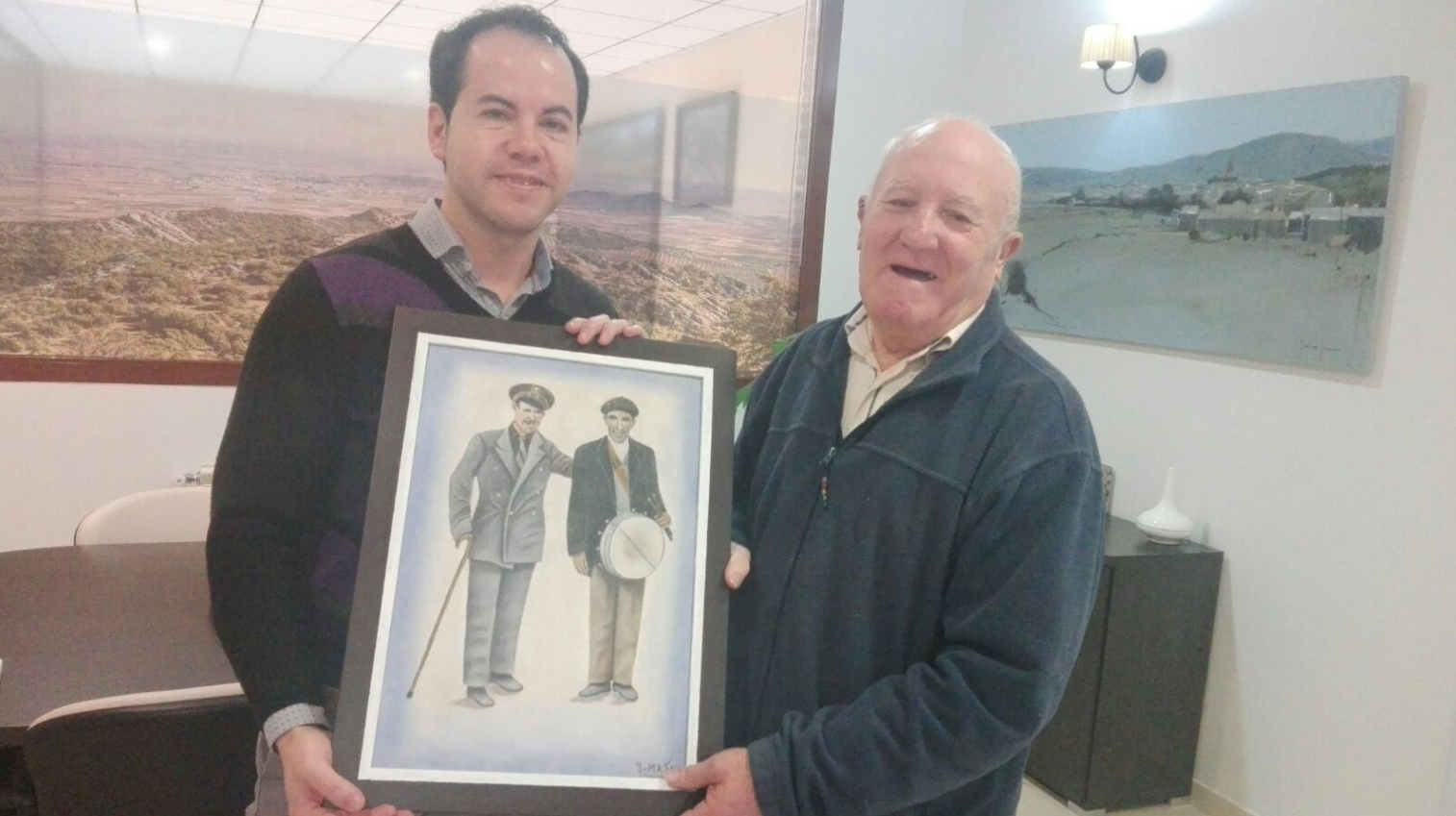 jesus mata donacion cuadro a herencia - Jesús Mata dona a Herencia un cuadro con dos antiguos oficios municipales