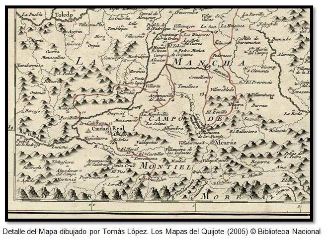 Detalle del Mapa dibujado por Tomás López. Los Mapas del Quijote (2005) © Biblioteca Nacional