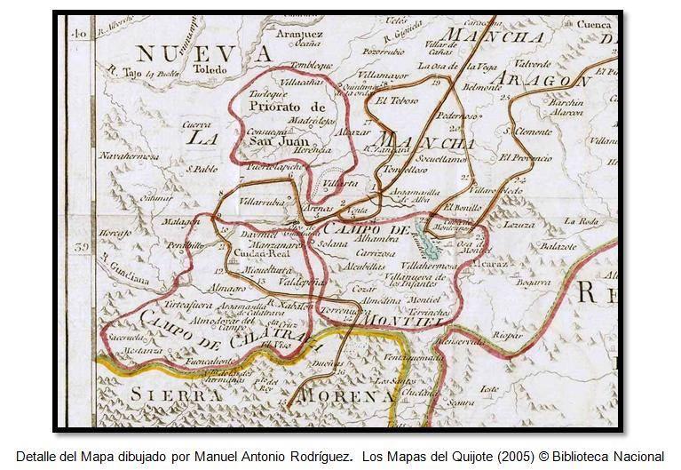 Detalle del Mapa dibujado por Manuel Antonio Rodríguez. Los Mapas del Quijote (2005) © Biblioteca Nacional