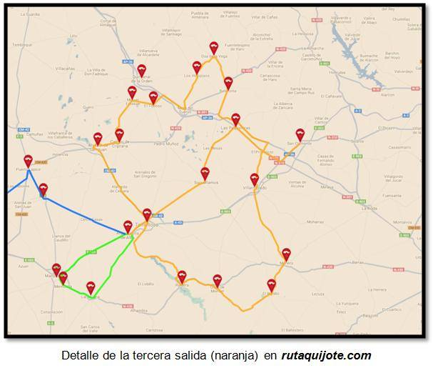 Detalle de la tercera salida (naranja) en rutaquijote.com