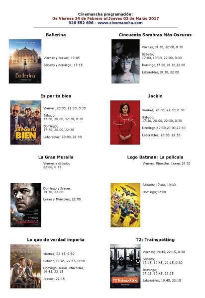 Cartelera Cinemancha del viernes 24 de febrero al jueves 2 de marzo 2