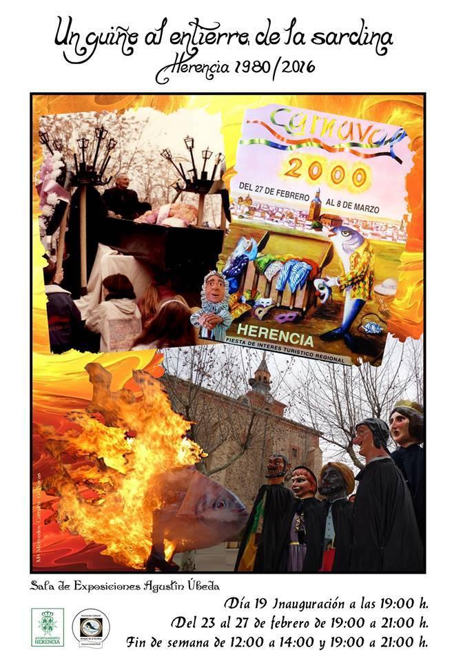 Cartel exposción Entierro de la Sardina herencia 2017  - 30 años del Entierro de la Sardina de Herencia en una exposición