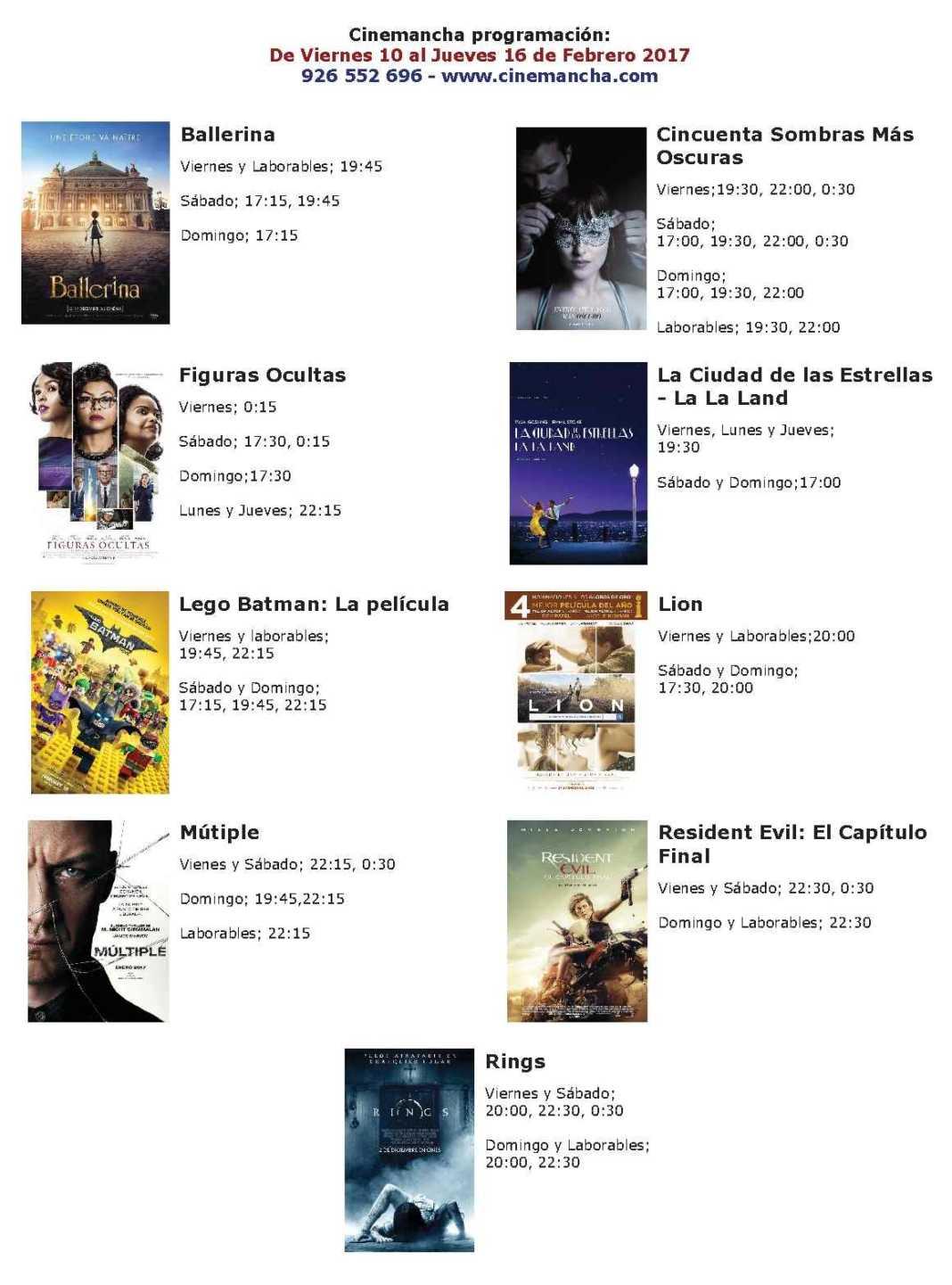 Cartelera del 10 al 16 de febrero en Multicines Cinemancha 2