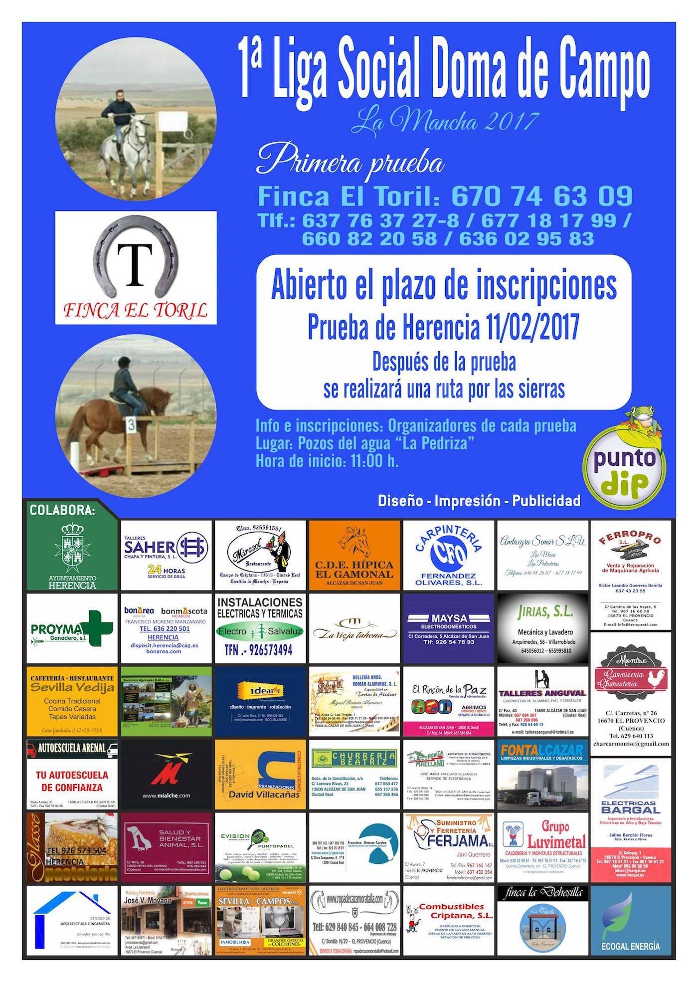 cartel primera doma de campo herencia - Primera Liga Social Doma de Campo en Herencia