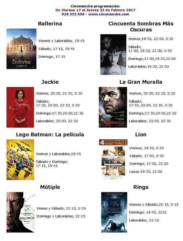 Cartelera Cinemancha del 17 al 23 de febrero 2