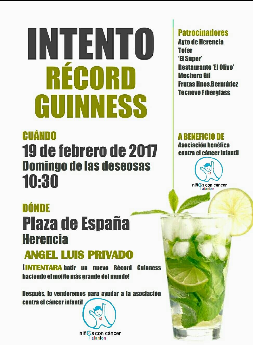 intento de record guinness haciendo el mojito mas grande - Ángel Luis Privado intentará superar un récord Guinness en Herencia