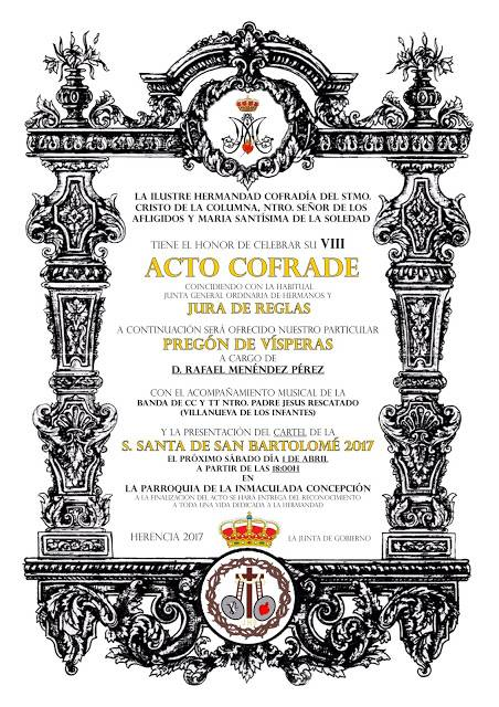 Acto cofrade El Santo - Besamanos del Stmo. Cristo de la Columna y Misa de Hermandad.