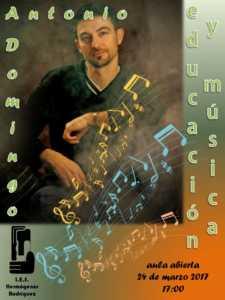 CARTEL ENCUENTRO Antonio Domingo 225x300 - Educación y Música de la mano de Antonio Domingo