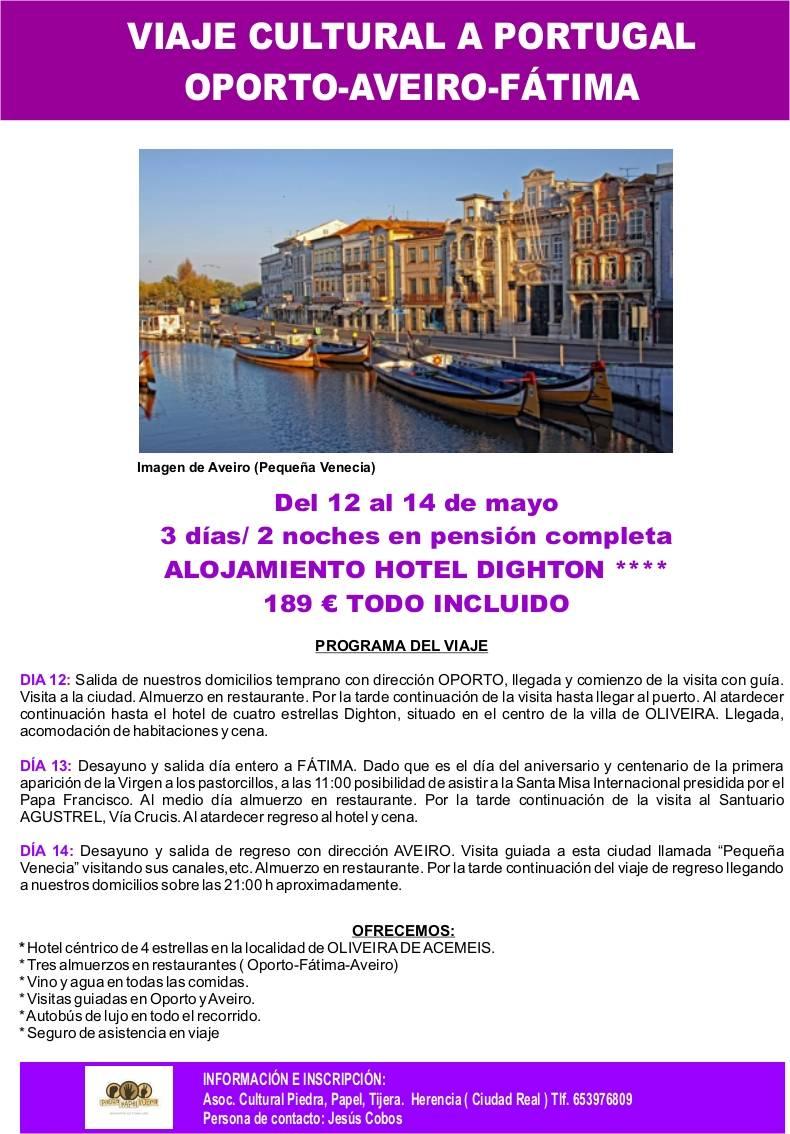 Viaje cultural a Oporto, Aveiro y Fátima con la Asociación Piedra, Papel, Tijera 2