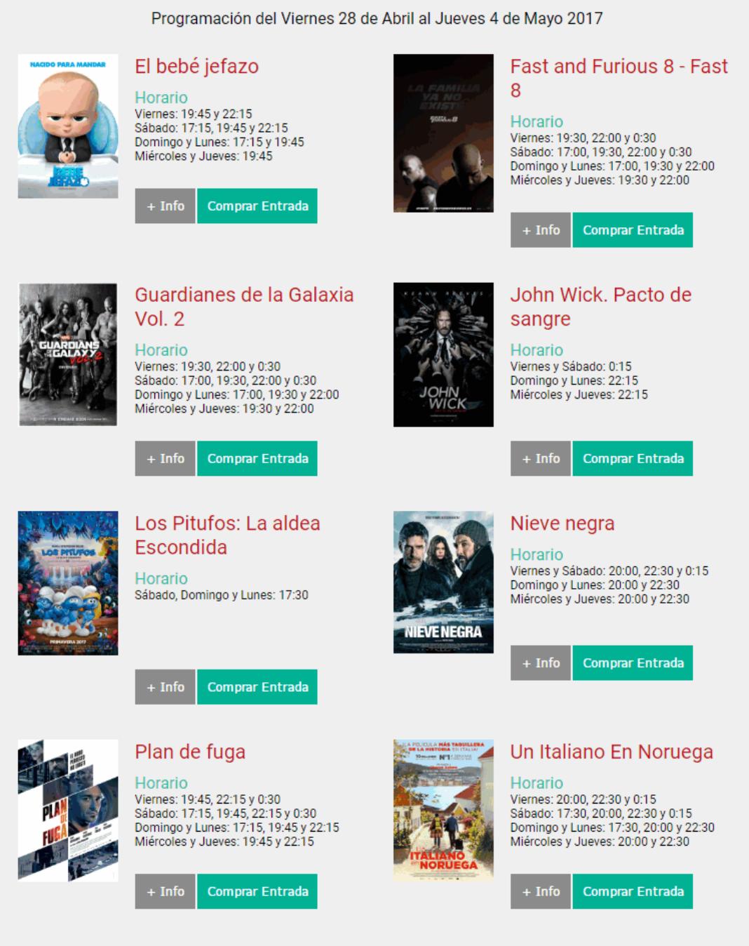 Cartelera Cinemancha del viernes 28 de abril al jueves 4 de mayo 4