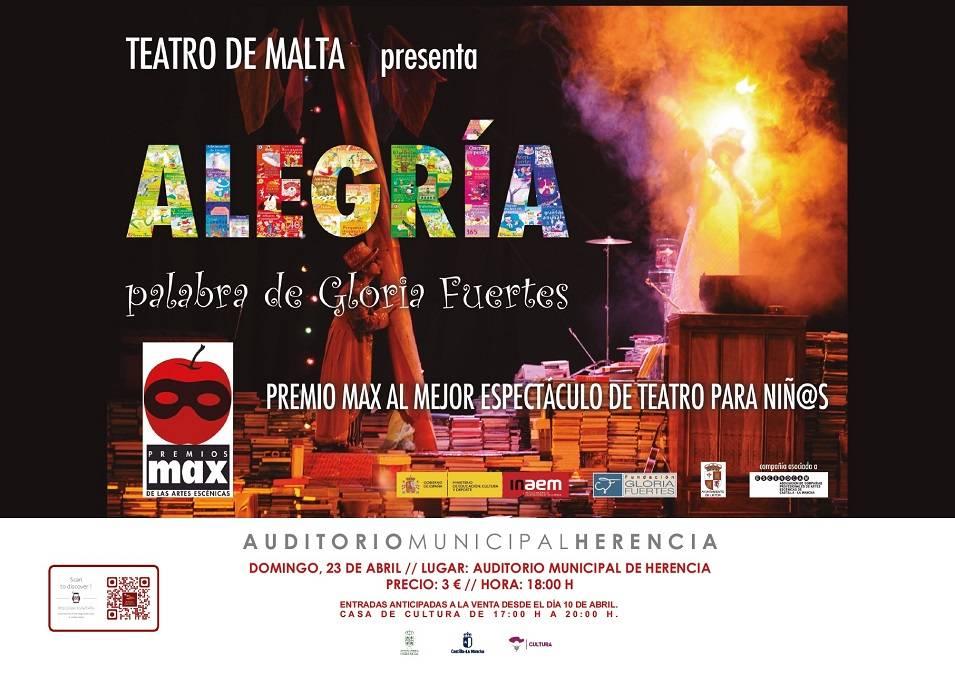 cartel alegria - El próximo domingo 23 de abril,  Herencia disfrutará del espectáculo ALEGRÍA