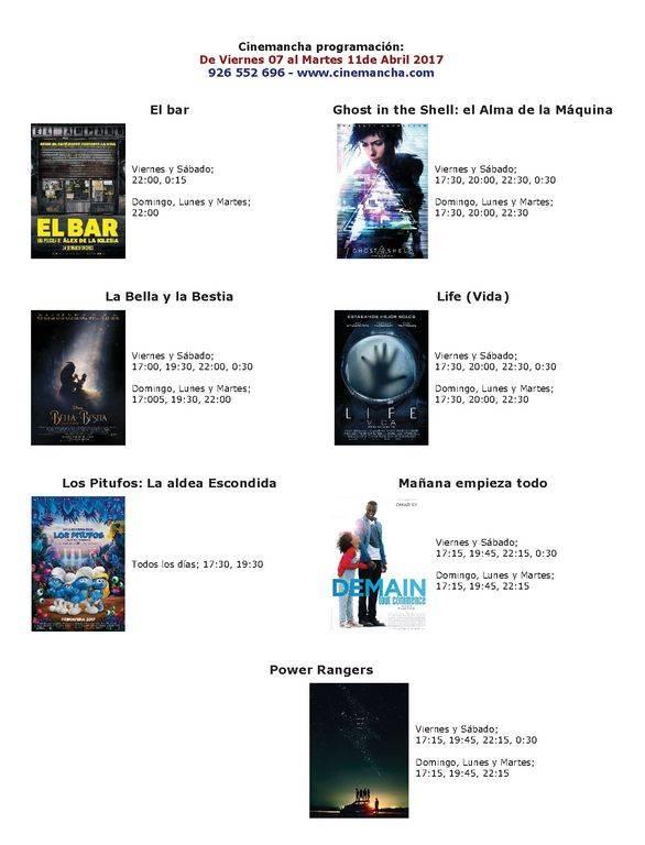 cartelera de cinemancha DEL VIERNES 07 HASTA EL MARTES 11 DE ABRIL - Programación Cinemancha del viernes 7 al martes 11 de abril