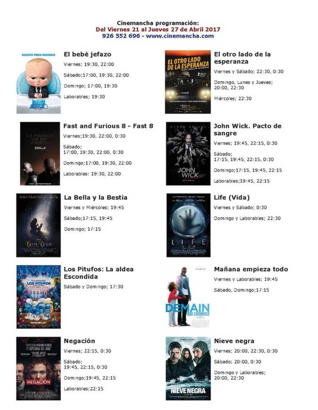 Cartelera Cinemancha del viernes 21 al jueves 27 de abril. 2