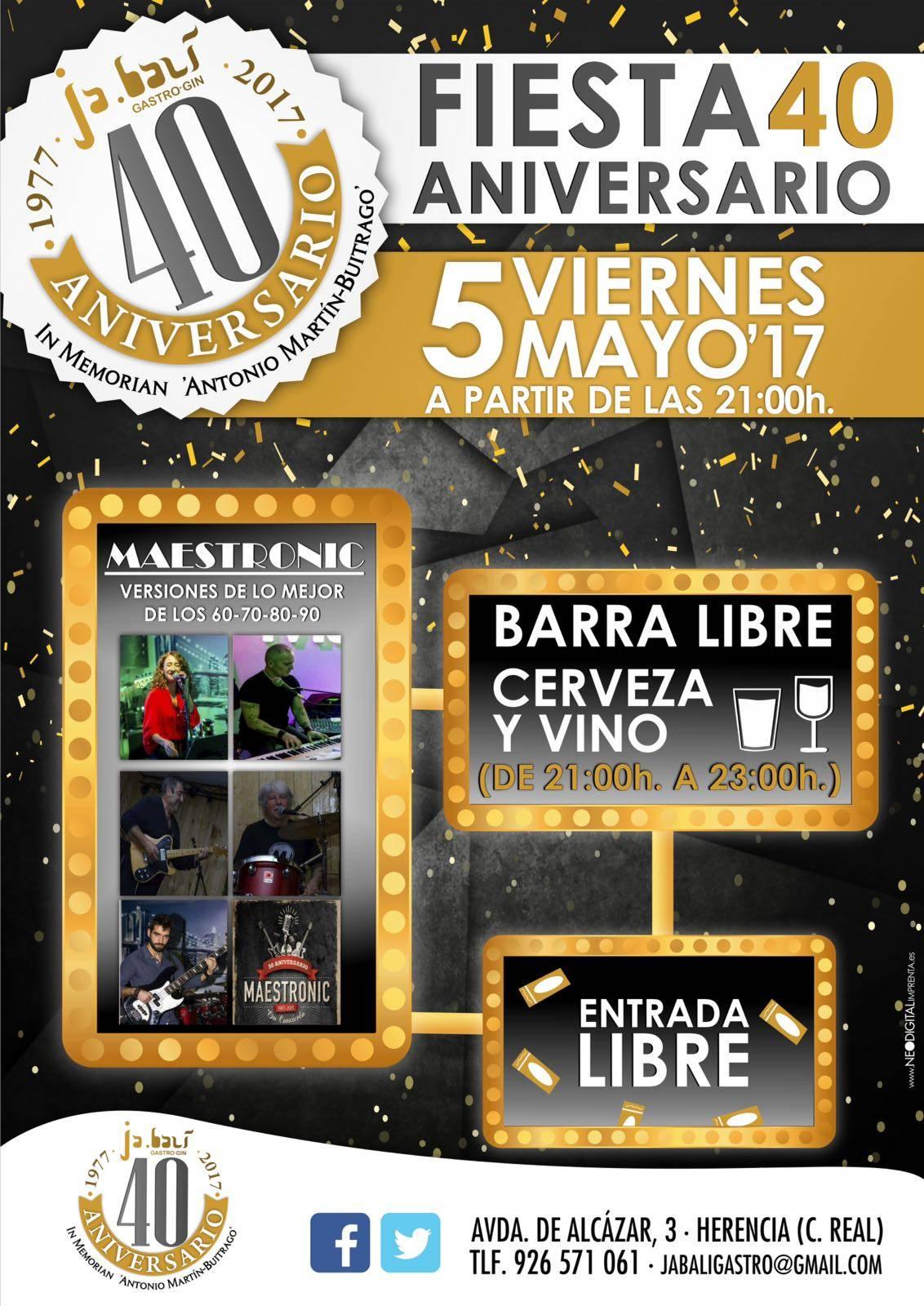 fiesta 40 aniversario jabali gastro gin - Almuerzo solidario las 4 décadas en Herencia