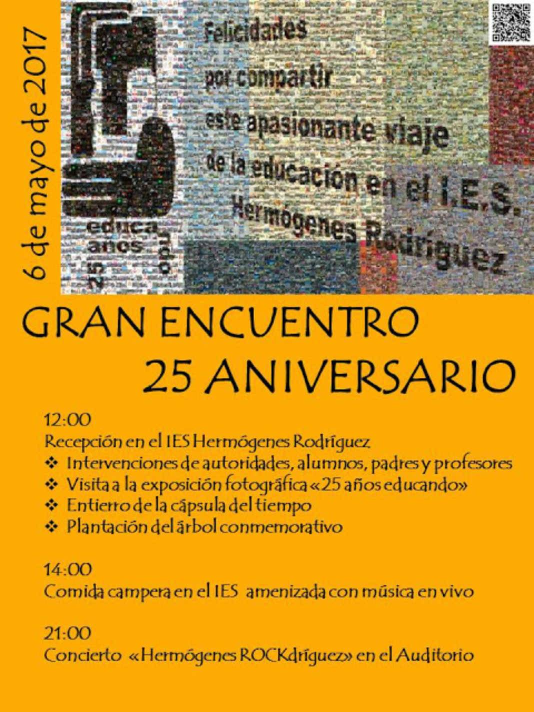 "25aniversario hermógenes 1068x1424 - El 6 de mayo ""Gran Encuentro"" 25 Aniversario del I.E.S. Hermógenes Rodríguez"
