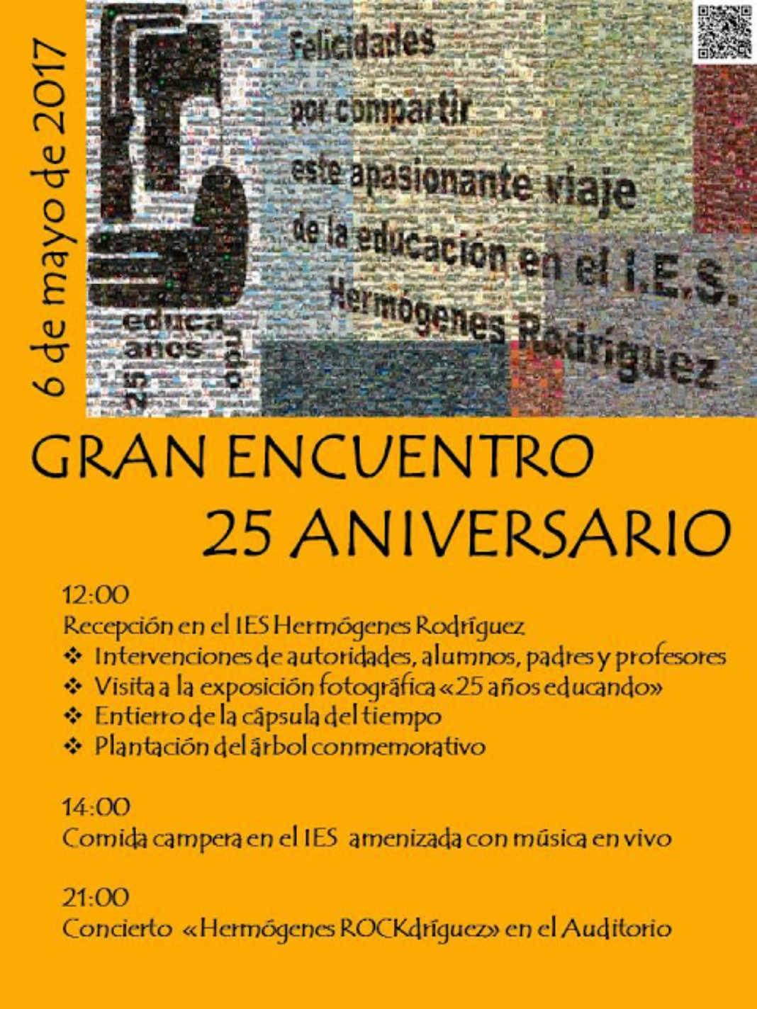 """El 6 de mayo """"Gran Encuentro"""" 25 Aniversario del I.E.S. Hermógenes Rodríguez 2"""