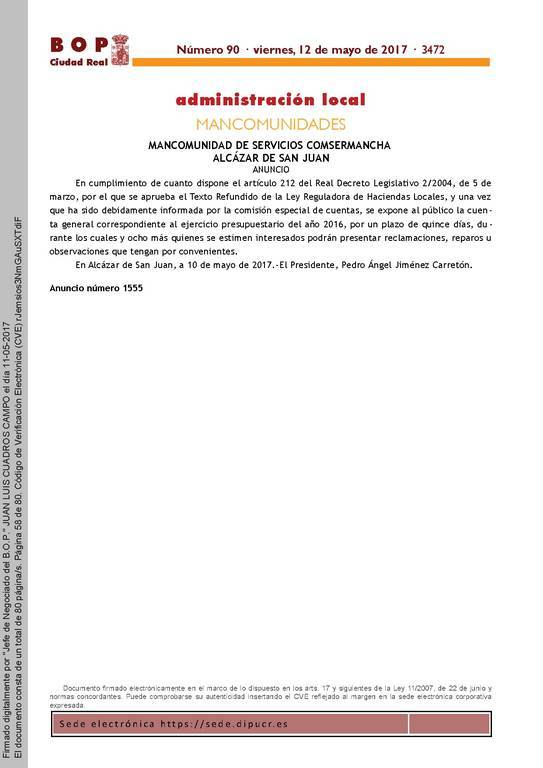 Anuncio Mancomunidad de Servicios Consermancha - Consermancha expone al público las cuenta del año 2016