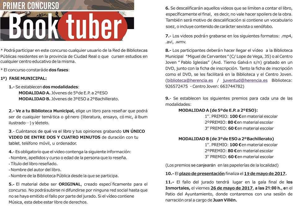 Bases concurso Booktuber interior - Se amplía el plazo de inscripción para participar en el I Concurso de Booktuber