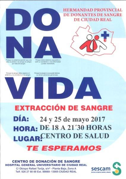 "Campaña donacion de sangre Herencia - ""Dona Vida"", campaña de donación de sangre en Herencia"