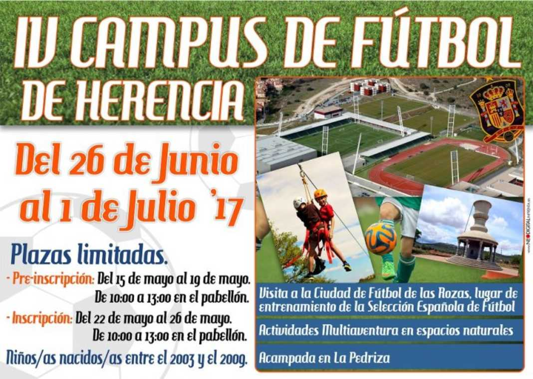 Cartel IV Campus de Fútbol 1068x759 - Inscripciones abiertas para el IV Campus de Fútbol de Herencia
