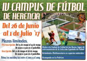 Cartel IV Campus de Fútbol 300x213 - Inscripciones abiertas para el IV Campus de Fútbol de Herencia