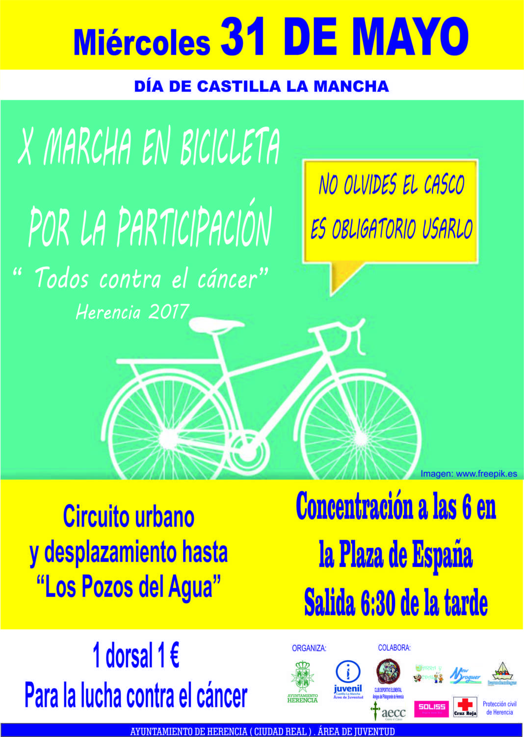 """Cartel Marcha en Bicicleta 1068x1503 - X Marcha en Bicicleta por la participación """"Todos contra el cáncer"""""""