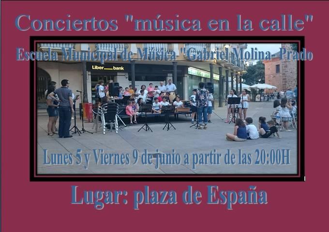 """Conciertos música en la calle - Música en la calle, de la mano de La Escuela Municipal de Música """"Gabriel Molina-Prados"""""""