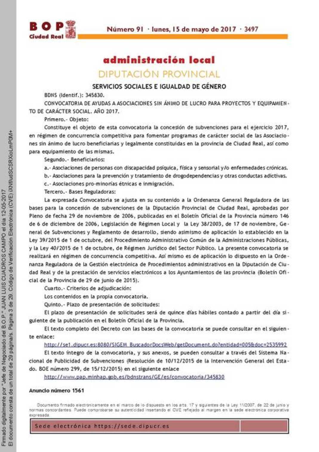 Diputación saca su Convocatoria de ayudas para proyectos y equipamiento de carácter social 2