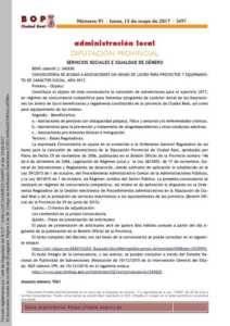 Diputación saca su Convocatoria de ayudas para proyectos y equipamiento de carácter social 1