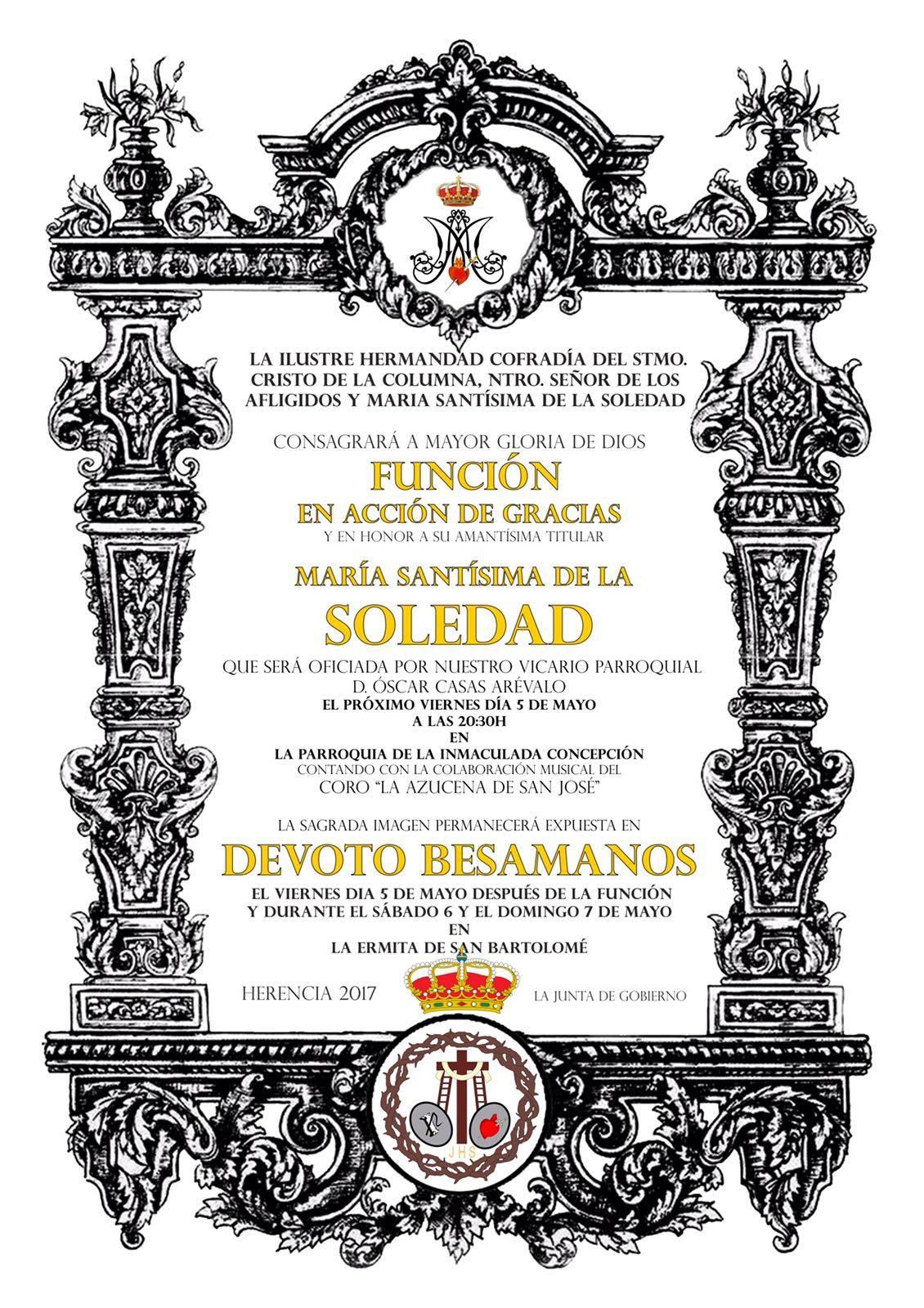 Función de Acción de Gracias y besamanos, en honor a  María Santísima de la Soledad 1
