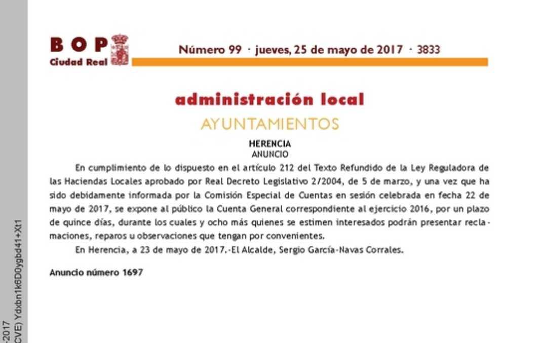 Exposición al publico cuentas 2016 1068x677 - Exposición al público de la cuenta general correspondiente al ejercicio 2016........