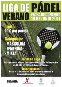 Liga Padel 2017 213x300 - Inscripciones abierta para la Liga de Pádel de Verano