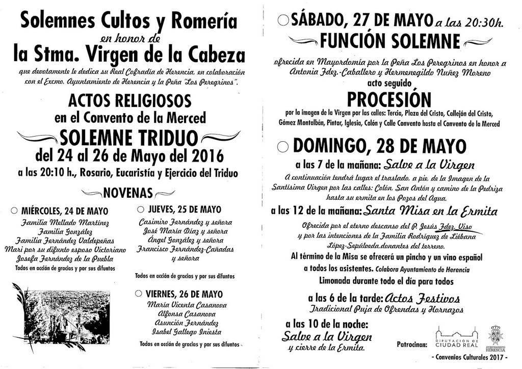ProgramaVirgendelaCabeza - Triduo en honor a la Virgen de la Cabeza en el Convento de la Merced