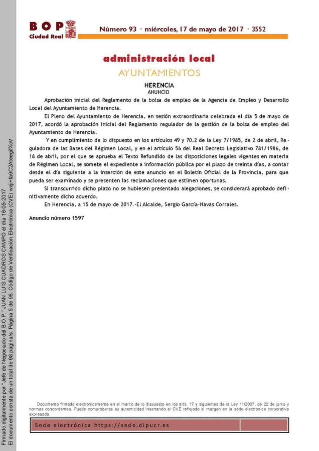 Aprobación inicial del Reglamento de la bolsa de empleo de la Agencia de Empleo y Desarrollo Local 2
