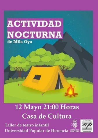 """cartel actividad nocturna 12 mayo - """"Actividad nocturna"""", una representación de la obra teatral de Mila Oya"""