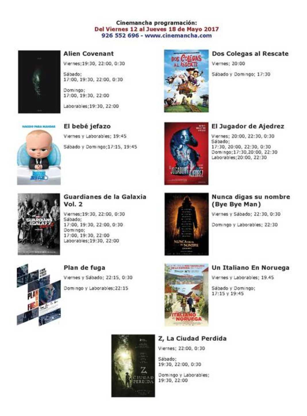 Cartelera Cinemancha del viernes 12 al jueves 18 de mayo 2