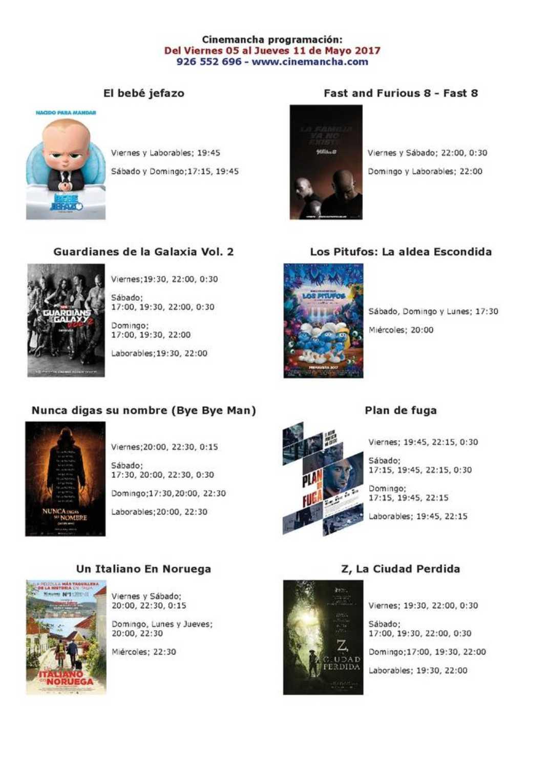Cartelera Cinemancha del viernes 5 al jueves 11 de mayo 2