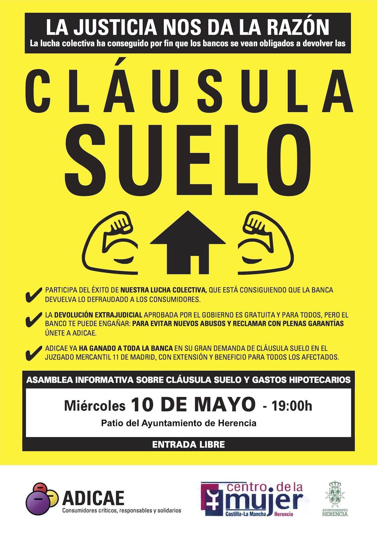 Asamblea informativa sobre la cl usula suelo el pr ximo 10 for Clausula suelo mayo 2017