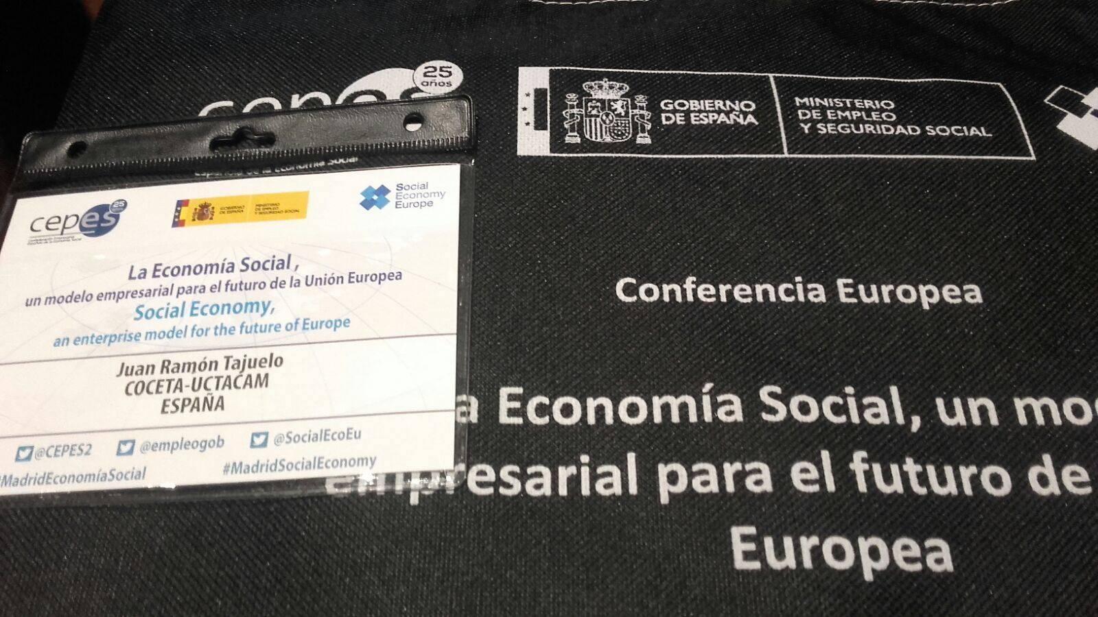 juan ramon en conferencia economia social - El herenciano Juan Ramón Tajuelo en la Conferencia Europea de Economía Social representando a Uctacam