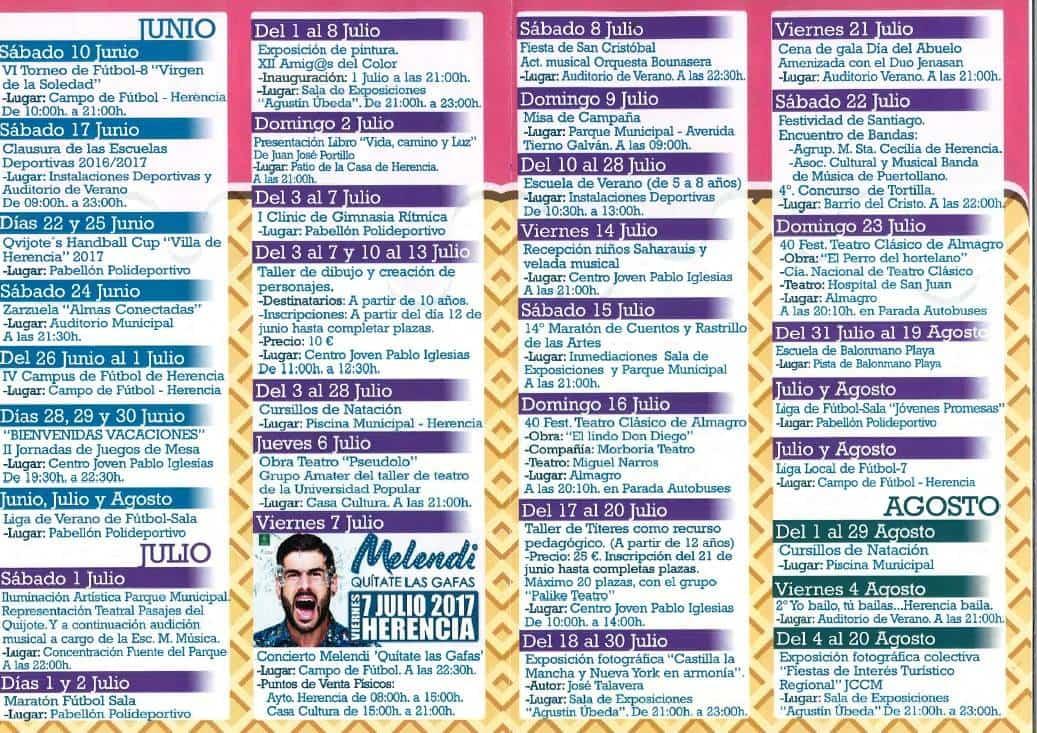 Agenda de verano 2017 herencia 2 - Agenda cultural y deportiva para este verano en Herencia