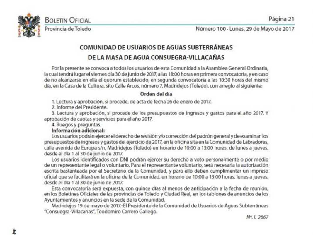 Aviso Comunidad de Usuarios de Aguas Subterráneas 1068x803 - Asamblea General de los Usuarios de Aguas Subterráneas de la masa Consuegra-Villacañas