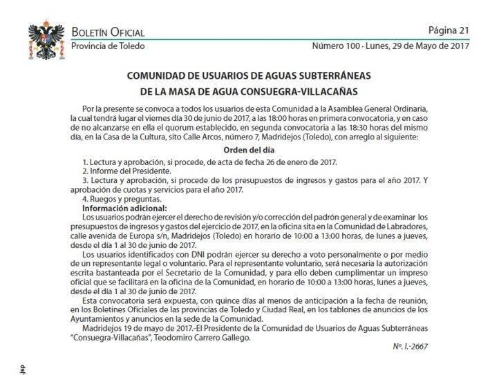 Aviso Comunidad de Usuarios de Aguas Subterráneas - Asamblea General de los Usuarios de Aguas Subterráneas de la masa Consuegra-Villacañas